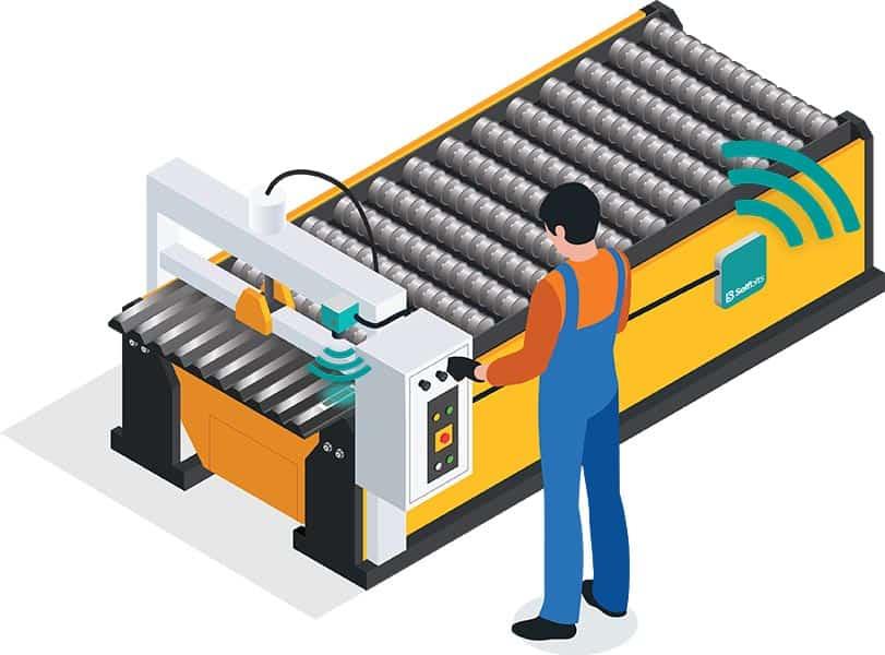 Werker an Maschine mit Selfbits Sensoren und Maschinendatenerfassung
