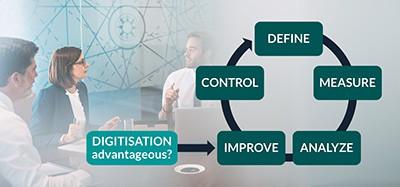 DMAIC Six Sigma Zyklus zur Verbesserung der Produktion mit Digitalisierung an der richtigen Stelle: Improve